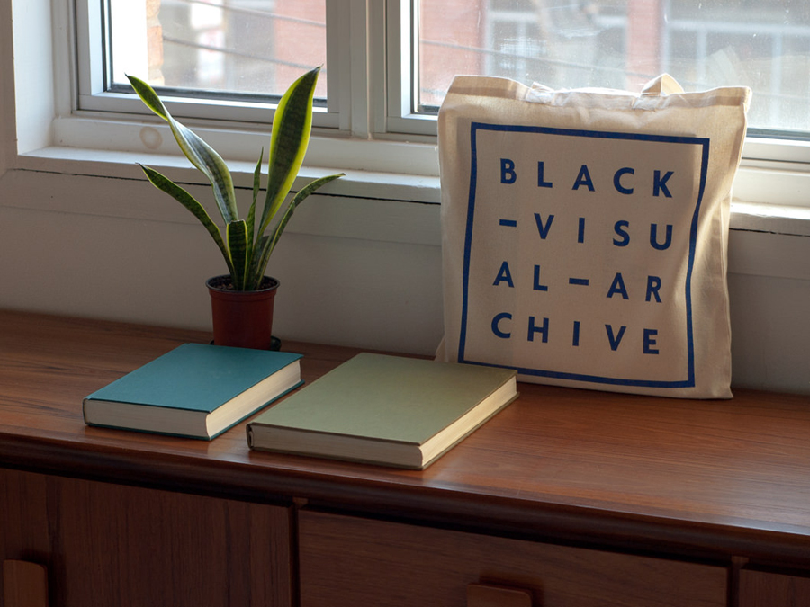 Logo and tote bag by Fivethousand Fingers for Black Visual Archive, an on-line collection of critical texts on African American artists