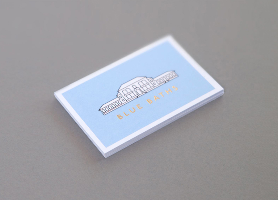 Business cards with gold foil detail designed by Ryan Romanes for Blue Baths