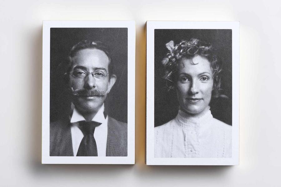 Gold foil edge business cards with period portrait detail for Adelaide design studio Cornershop