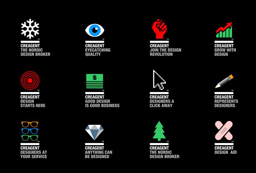 Logo and pictogram set designed by Bond for nordic design broker Creagent