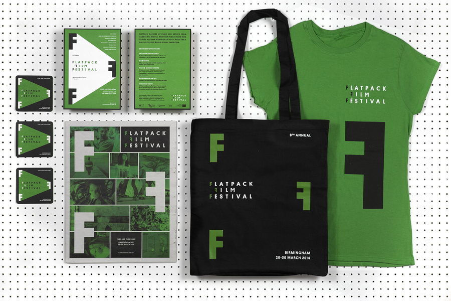 Visual identity and print designed by Dot Dash for Birmingham's Flatpack Film Festival