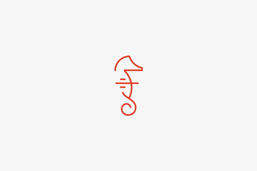 Seahorse logo designed by Apartment One for dad-centric parenting media platform Fatherly