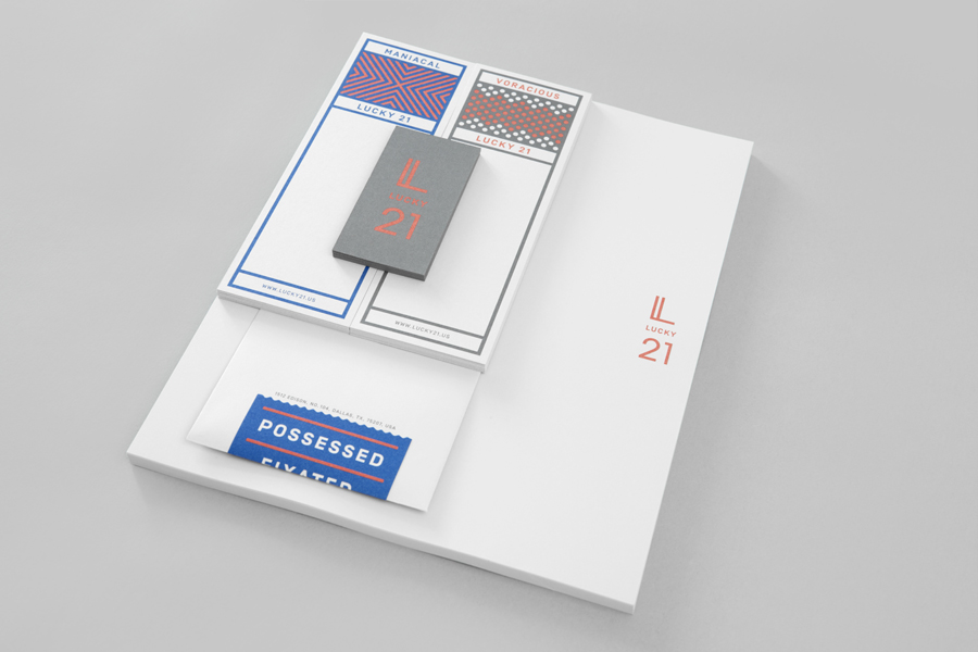 Stationery designed by Blok for Dallas and LA film production company Lucky 21.