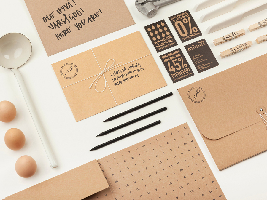 Stationery designed by Bond for Puustilli's new reductionist kitchen Miinus