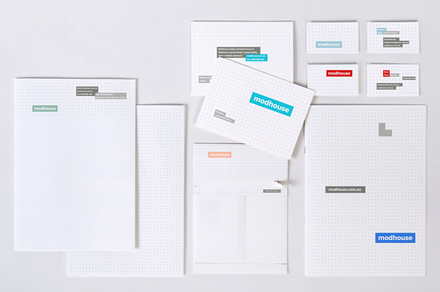 Logo and modular grid based stationery designed by A Friend Of Mine for Australian design and building firm Modhouse