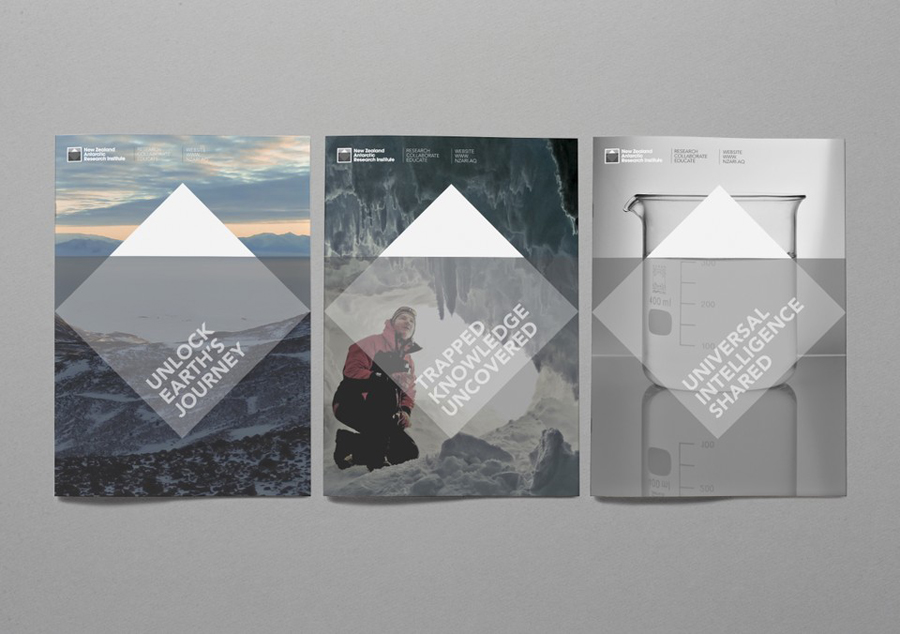 Logo and brochure designed by BRR for New Zealand Antarctic Research Institute