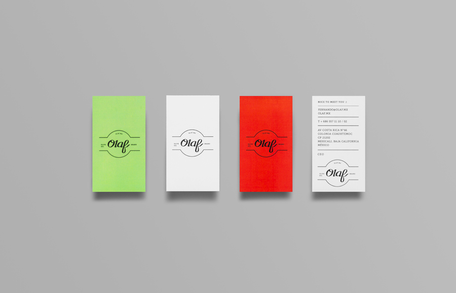 Logo and business card for olive oil brand Olaf designed by Anagrama