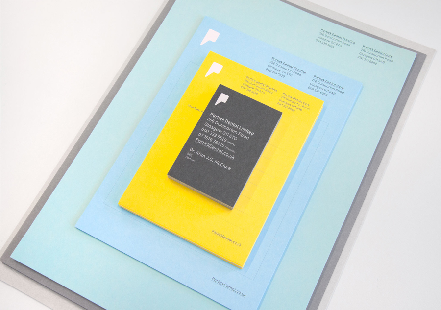 Logo and stationery with coloured paper detail designed by Freytag Anderson for Partick Dental featured on BPO