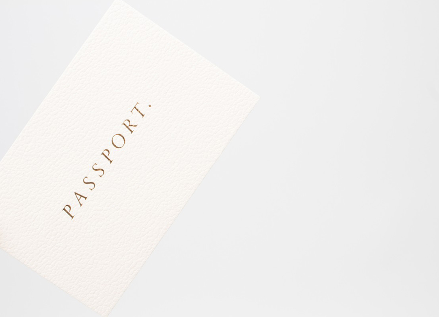 Vellum White Colorplan business cards with gold foil detail for Leeds based design studio Passport