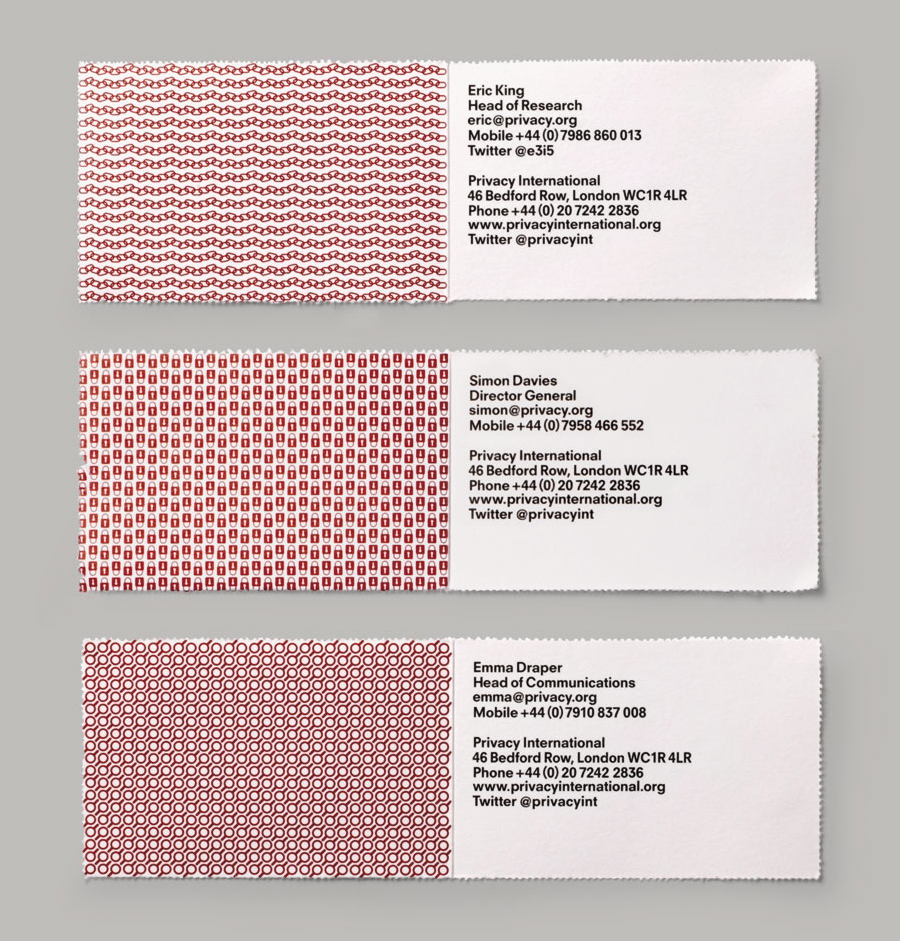 Business card with perforated detail designed by This Is Real Art for Privacy International