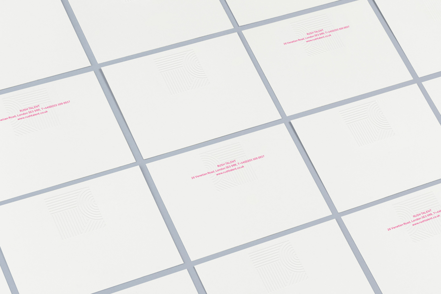Logo and stationery with emboss detail designed by Bunch for London based public relations company Rush Talent