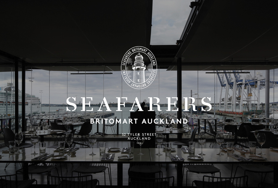 Logo with etched illustrative detail designed by Inhouse for Auckland's The Seafarers Building