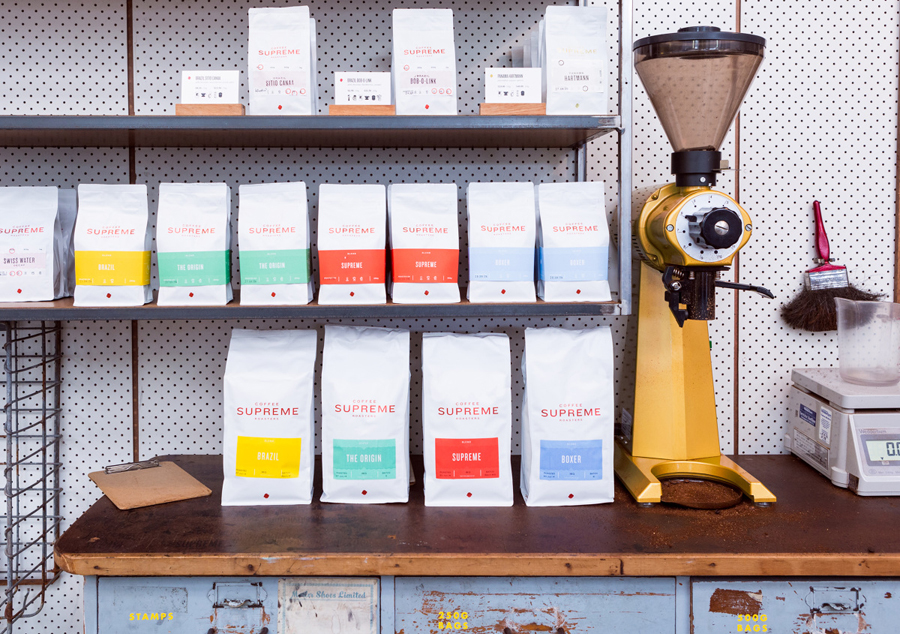 Packaging designed by Marx Design for independent coffee roaster Coffee Supreme