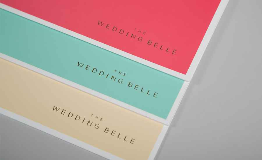 Logo and stationery with pastel and gold foil print finish designed by Ghost for wedding planner The Wedding Belle