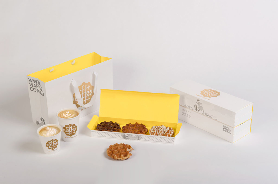 Packaging designed by A Friend Of Mine for Belgian waffle and coffee chain Waffee