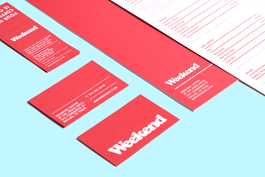 Logo and stationery with a red board and white ink detail designed by RoAndCo for Dallas coffee shop Weekend