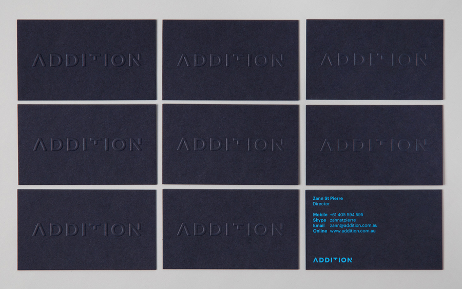 Logo and embossed business card design by Thought Assembly for Addition