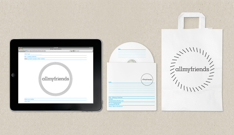 Logo, stationery and website designed by Berg for short film production studio All Of My Friends