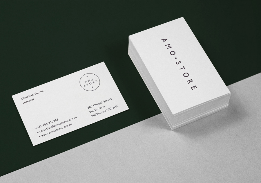 Logo and business cards for Melbourne shoe boutique Amo Store by designed Studio SP–GD