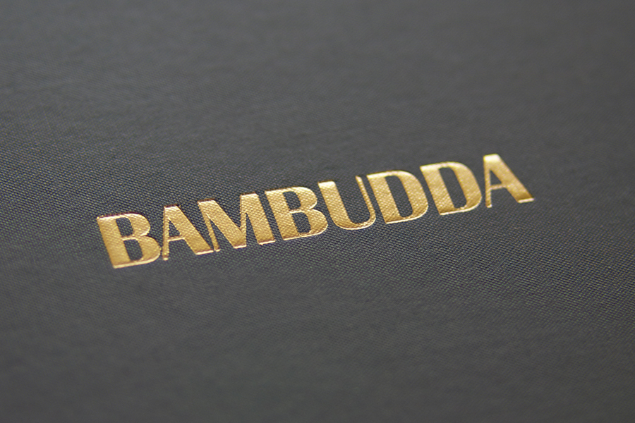 Logo as a gold foil detail by Post Projects for Vancover-based Chinese restaurant Bambudda