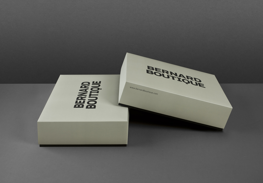 Logo and packaging for award-winning fashion store Bernard Boutique designed by Bunch