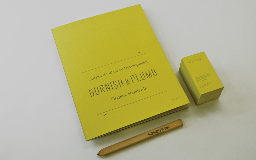 Logo and stationery with a rough trade texture designed by FÖDA for Austin based construction firm Burnish & Plumb