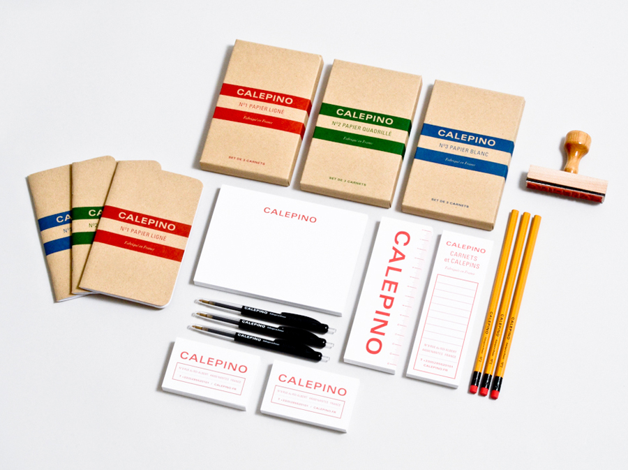 Logo, stationery and packaging with uncoated, unbleached material detail designed by Studio Birdsall for French notebook brand and manufacturer Calepino