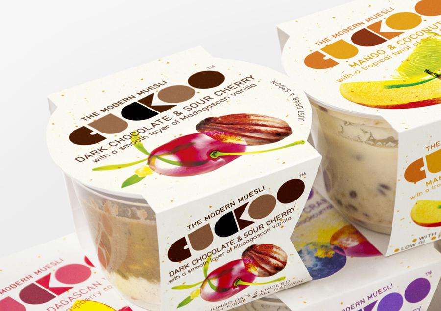 Packaging designed by B&B Studio for Cuckoo's wheat-free bircher muesli range