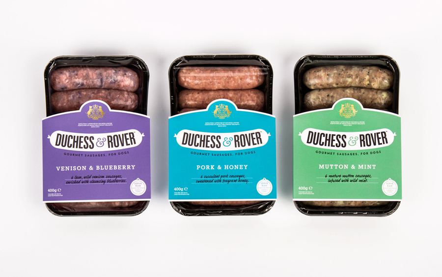 Packaging by Robot Food for gourmet sausage range for dogs Duchess & Rover