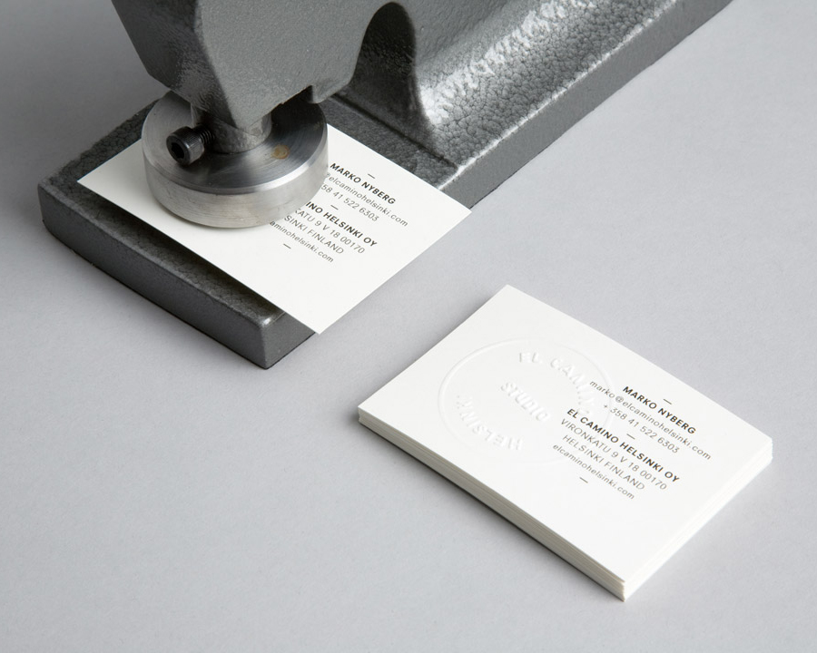 Business cards with blind emboss detail designed by Tsto for audio production and sound design studio El Camino