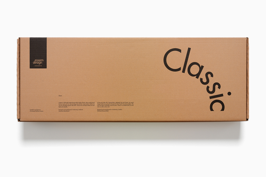 Packaging with black ink across an unbleached board designed by Bedow for Gunnar Bolin's Classic rack