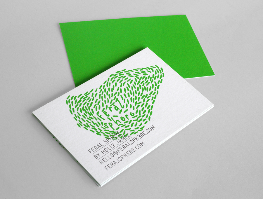 Logo and business card with a bright spot green print finish designed by Mind for fashion label Feral Sphere