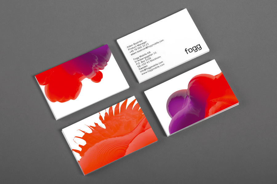 Logotype and business cards created by Kurppa Hosk and Bunch for international fixed cost mobile data traffic service Fogg