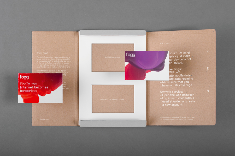 Brand identity and sim card packaging created by Kurppa Hosk and Bunch for international fixed cost mobile data traffic service Fogg