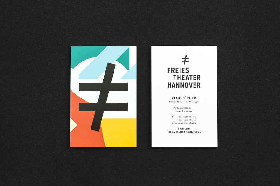 Business cards with bright geometric illustrative detail for Freies Theater Hannover by Bureau Hardy Seiler