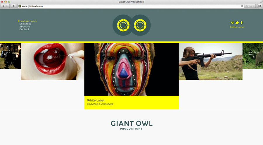 Logo and website by Alphabetical for independent production company Giant Owl