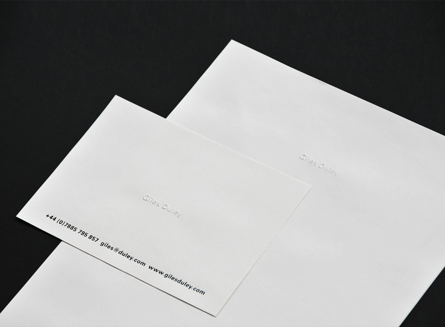 Stationery with blind emboss detail for photographer Giles Duley designed by Shaz Madani