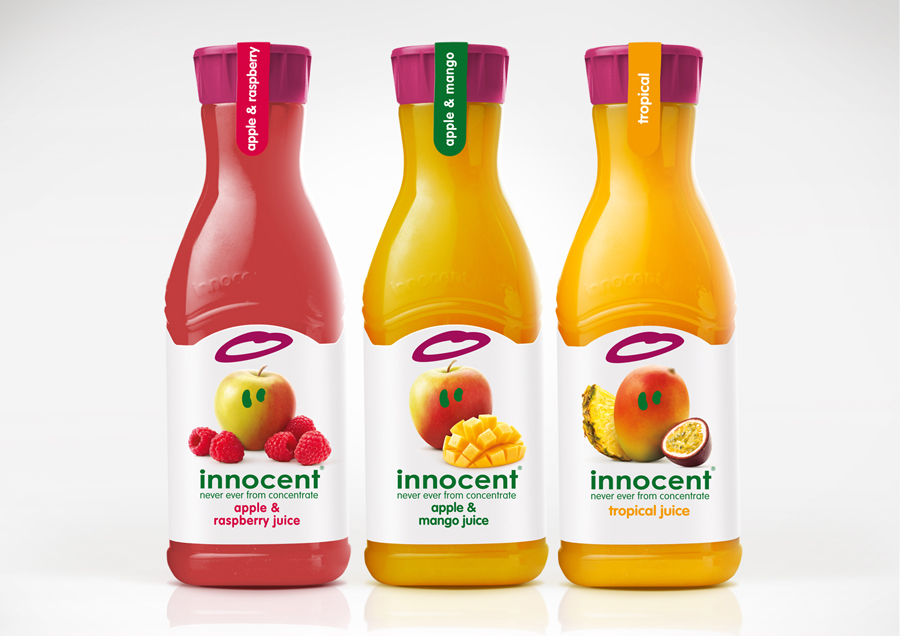 Packaging design by B&B Studio for Innocent's juice and smoothies range