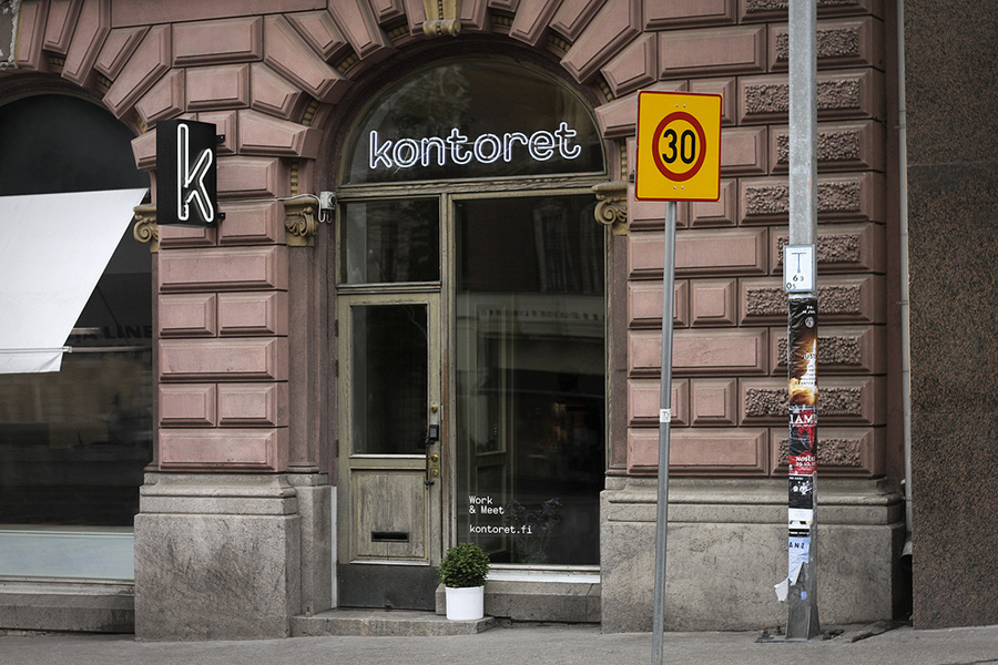 Logo and exterior signage designed by Werklig for Helsinki, by the hour, office space provider Kontoret