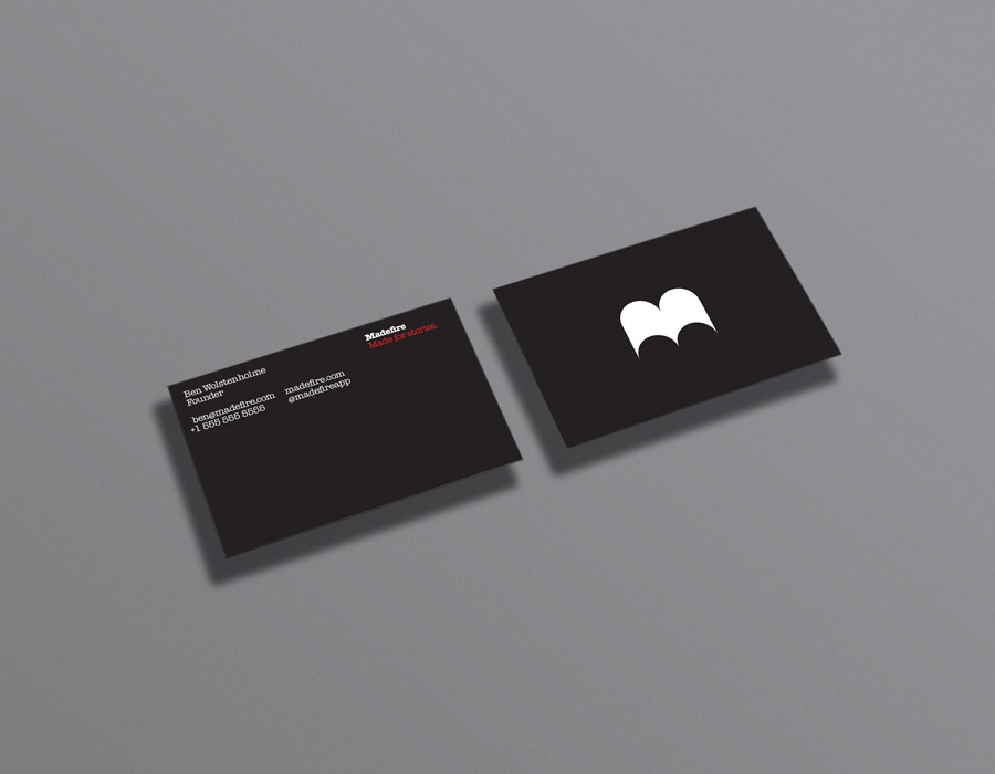Logo and business cards for Madefire designed by Moving Brands