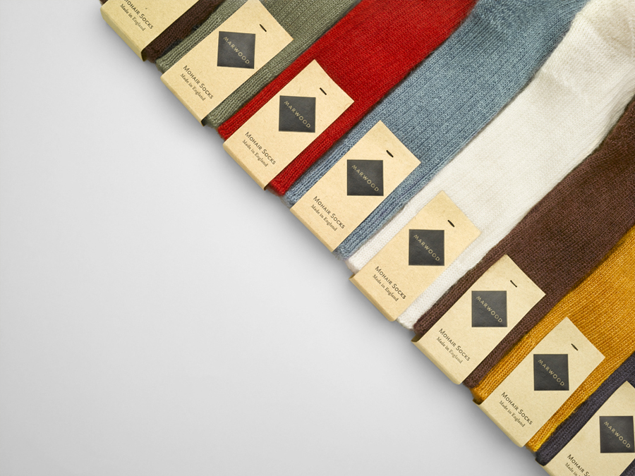 Logo and mixed fibre label design by Everything In Between for London-based tie and neckwear brand Marwood