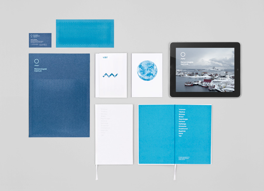 Logo and print designed by Neue for the Norwegian Meteorological Institute - Meteorologisk Institutt