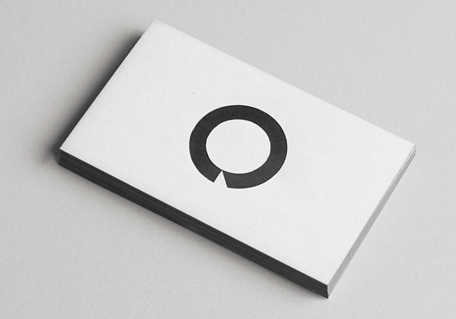 Logo and business card design with edge painted detail by Heydays for O Architecture