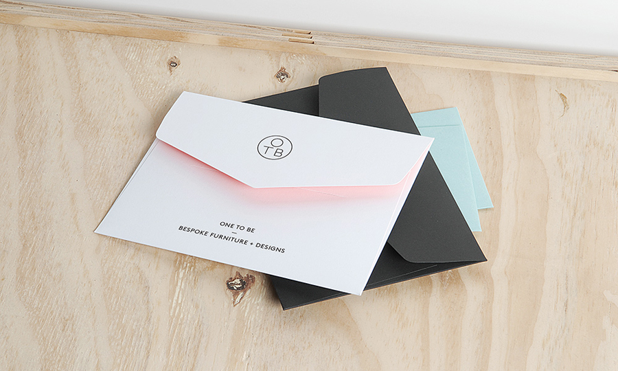 Logo and pastel coloured stationery created by Coast for furniture design and manufacturing workshop One To Be