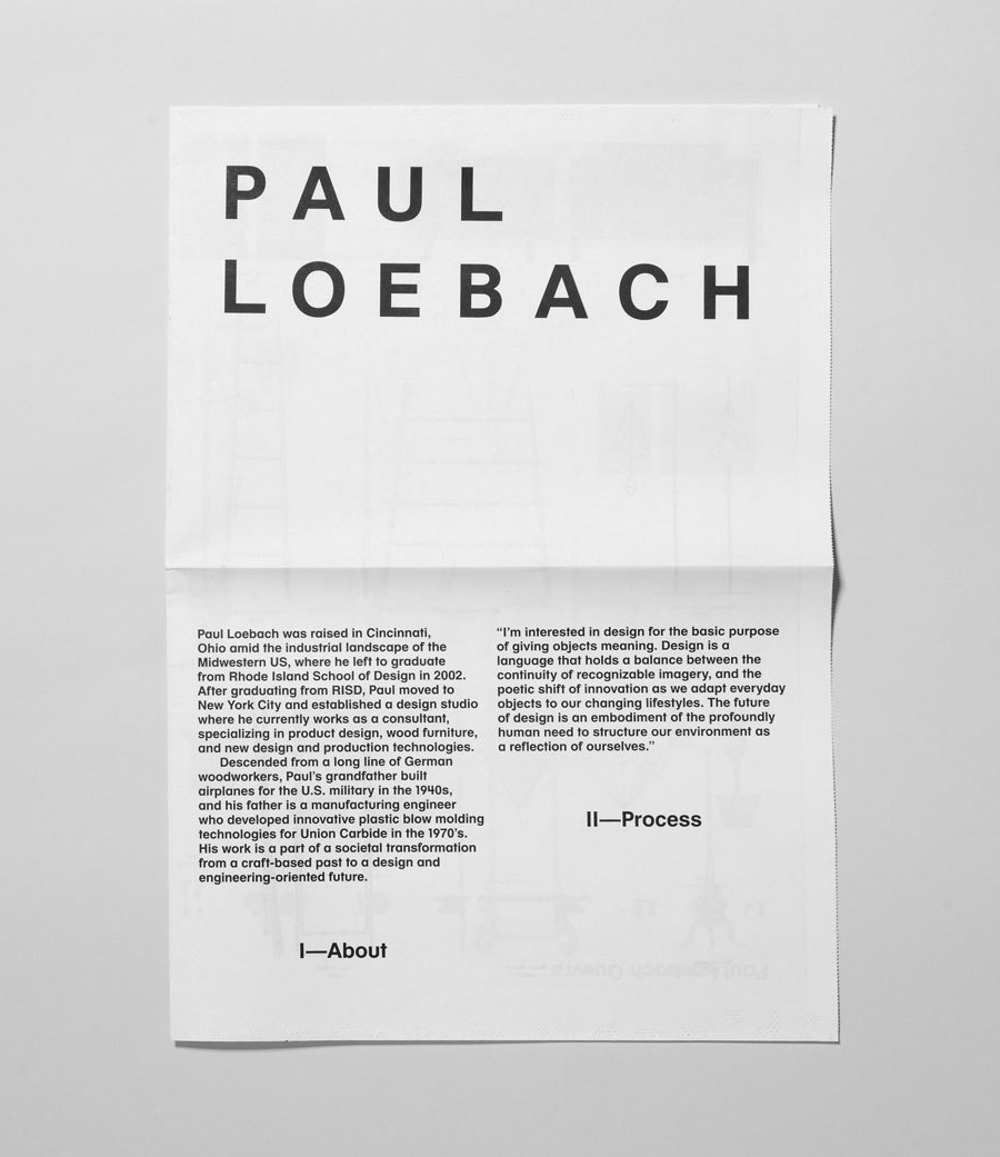 Logo and print for three dimensional designer Paul Loebach created by Studio Lin