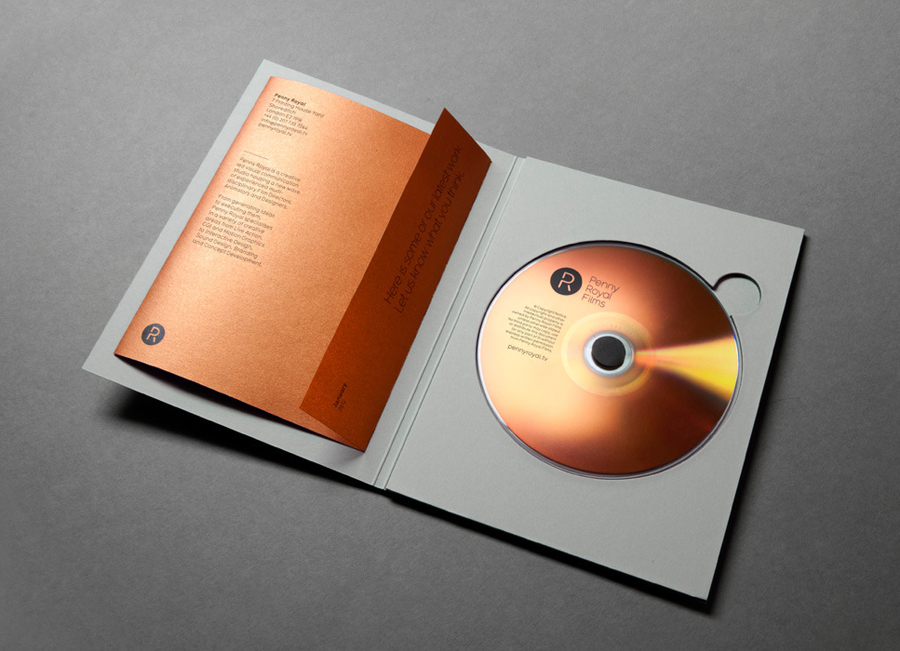 Logo and CD case with copper paper detail designed by Alphabetical for Penny Royal Films