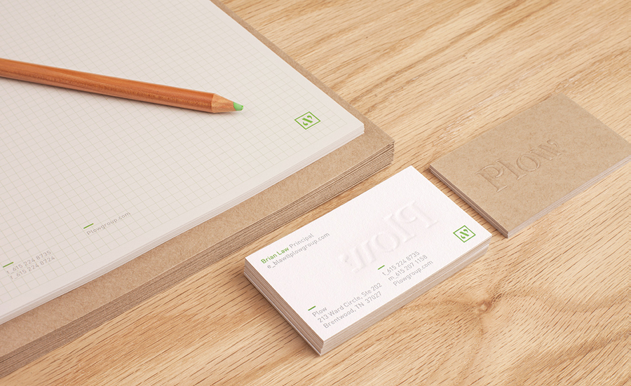Logo and blind embossed duplex business card by Perky Bros for customer acquisition service and telecom/energy contractor Plow