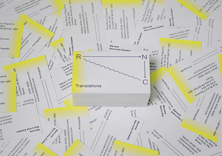 Logo and yellow edge sprayed grey business card designed by Studio Constantine for translator Renata Noronha Cossio