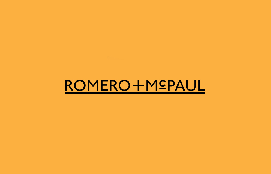 Underlined sans-serif logotype designed by Anagrama for luxury slipper brand Romero+McPaul