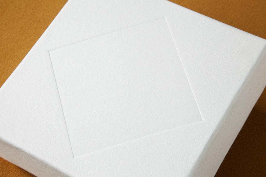 Blind embossed jewellery box for retailer Sancy & Regent designed by OK-RM
